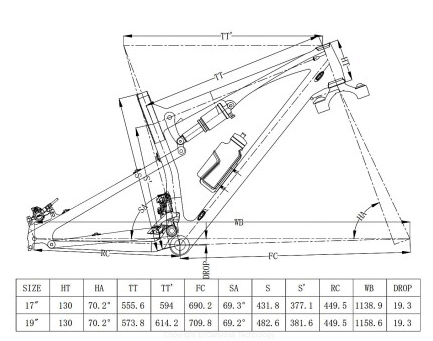 TitanX 29er SL MTB Frame  Geometry